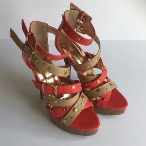 Liliana Coral/Nude Studded Strap Platform Sandals